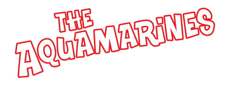 The Aquamarines band logo white with red border